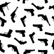 Stock Photo: Vector guns set seamless pattern
