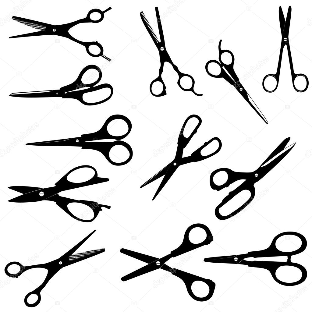 Silhouette Scissors vector illustration on white — Stock Photo #9386340