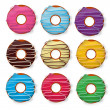 Colorful delicious donuts isolated on white background. vector i — Stock Photo
