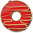Red strawberry donut. Vector illustration — Stock Photo