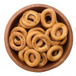 Many bagels on white background — Stock Photo