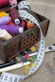 Still life various sewing accessories. — Stock Photo