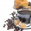Italian espresso donut, brown sugar and coffee beans on white ba — Stock Photo #9647210