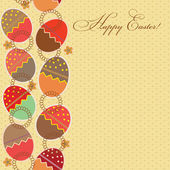 Greeting card with different easter eggs — Stock Photo