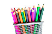 Color pencils in pencil holders — Stock Photo