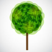 Tree with green leaves. Vector illustration. — Foto de Stock