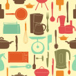 Vector illustration seamless pattern of kitchen tools for cookin — Stock Photo #9791566