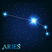 Vector of the aries zodiac sign of the beautiful bright stars on — Stock Photo