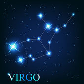 Vector of the virgo zodiac sign of the beautiful bright stars on — Stock Photo