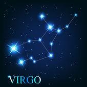 Vector del signo zodiacal de virgo de las hermosas estrellas brillantes en — Foto de Stock