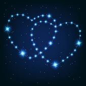 Two love heart from beautiful bright stars on the background of — Stock Photo