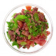 Fresh  salad from tuna, tomato and lettuce in glass bowl isolate — 图库照片
