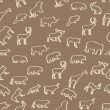 Wild animals hand drawn seamless pattern background — Stock Photo