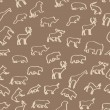 Wild animals hand drawn seamless pattern background — Stockfoto