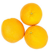 Fresh oranges isolated on white background — Stock Photo