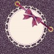 Vector greeting card with frame and bow. Space for your text or — ストック写真