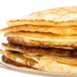 Pancakes stack isolated on white background — Stock Photo