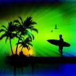 Tropical background with surfer - Stockvektor