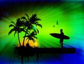 Contexte tropical à surfer — Vecteur