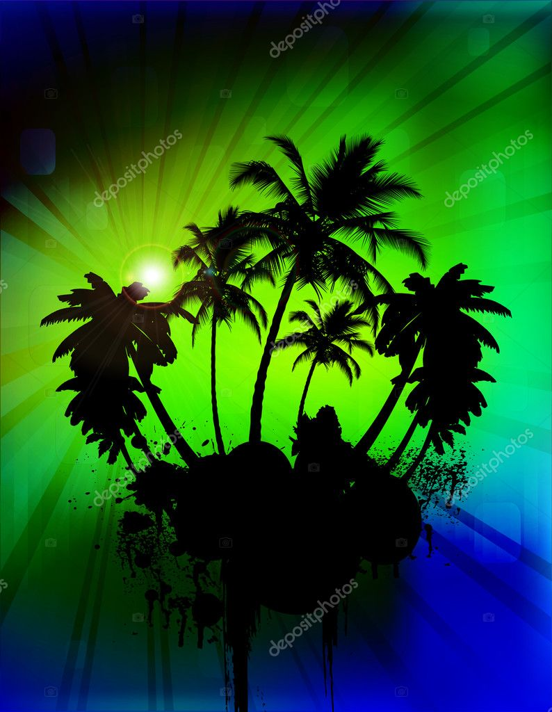 Palm tree in abstract background, vector illustration   Stock Vector #8170719
