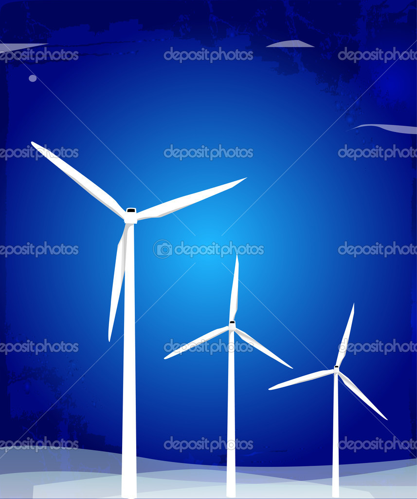 Windmill turbines, vector illustration — Stock Vector #8935063