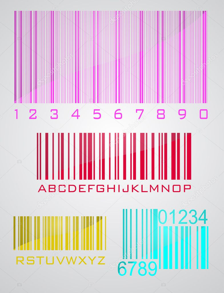 Bar code set in gray background, vector illustration — Stock Vector #8935116
