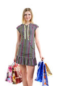 Girl with bags after shopping — Stock Photo