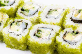 Sushi with fish and green caviar — Stock Photo