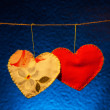 Cotton fabric hearts — Foto de Stock