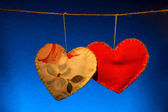 Cotton fabric hearts — Stock Photo