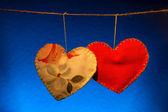 βαμβάκι ύφασμα καρδιές — Φωτογραφία Αρχείου