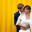 Happy bride and groom — Stock Photo