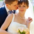 Bride and groom in the park — Stock Photo #8146771