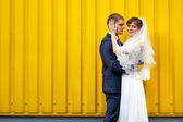 Bride and groom hugging against wall — Stock Photo