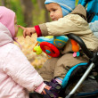 Two baby playng in park — Stock Photo