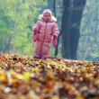 Funny baby playing with leaves in park — Stock Photo