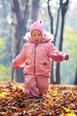 Portrait of little baby in the park — Stock Photo