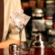 Ice cocktail on the wooden bar — Stock Photo