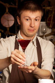 Barman with cocktail — Stockfoto
