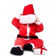 Portrait of little cute baby in red suite of Santa isolated — Stock Photo