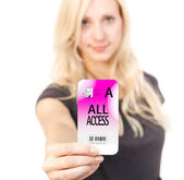 Woman shows Access card — Stock Photo