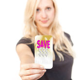 Shopping sale bargain card woman — Stock Photo