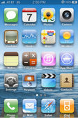 Icons on main display on iPhone 4. — Stock Photo