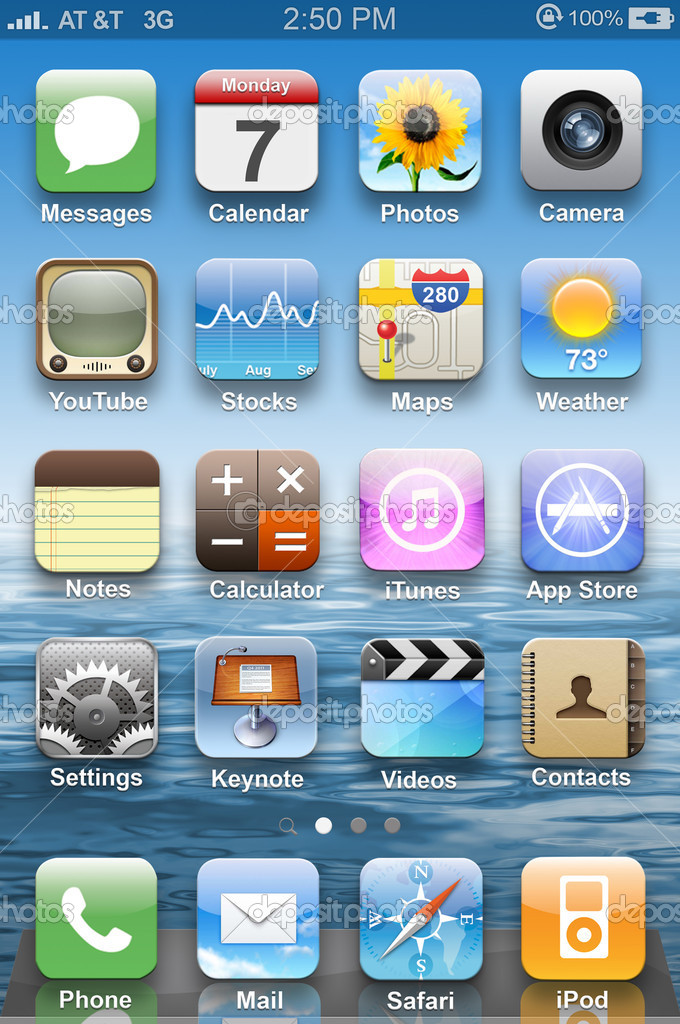 Colorful application icons on main display on iPhone 4. — Stock Photo #10276123