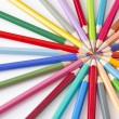 Color pencils in a circle on white background — Stok fotoğraf