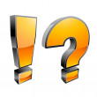 Exclamation mark and question mark — Stock Photo