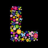 Vector flower font — Stock Photo