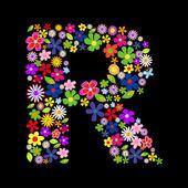 Vector bloem lettertype — Stockfoto