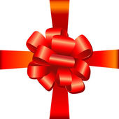 Big red holiday bow — Stock Photo