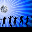 Stock Photo: Silhouettes of dancing on dancefloor